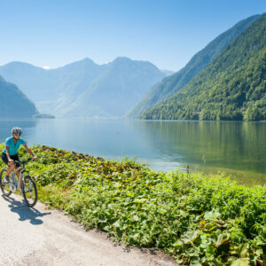 E biking on the Hallstaettersee