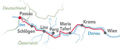 Donau-fietspad kaart